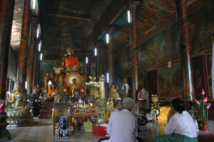 Inside the main temple in Phnom Penh